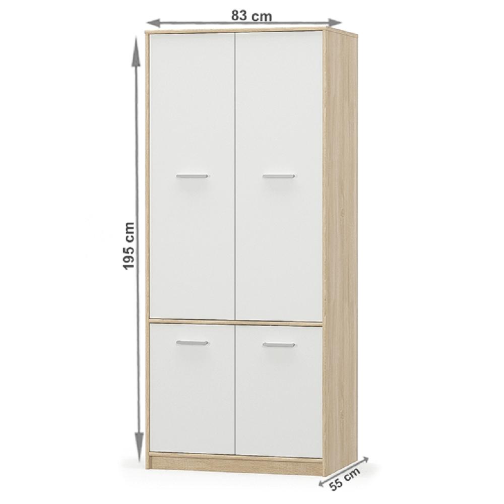 4- ajtós akasztós szekrény, fehér/tölgy sonoma, TEYO
