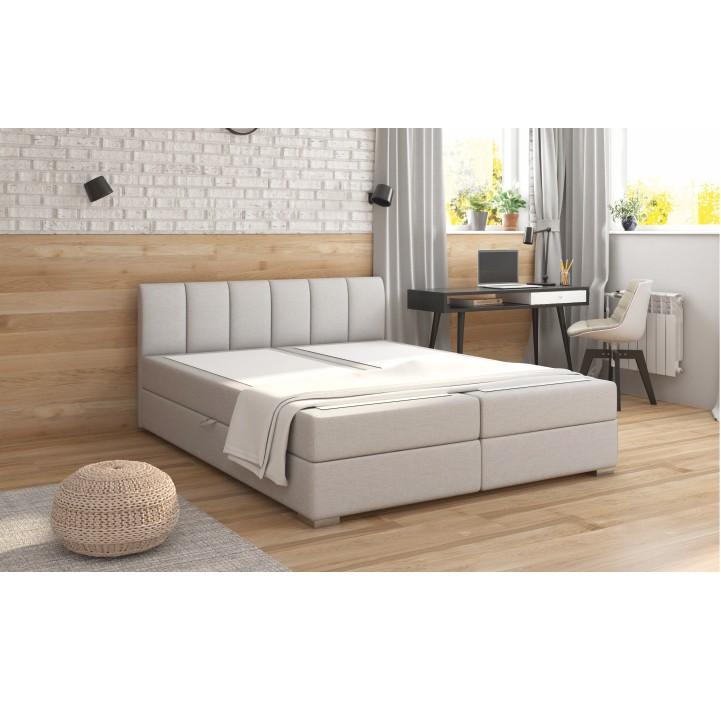 Boxpring ágy 160x200, világosszürke, RIANA KOMFORT