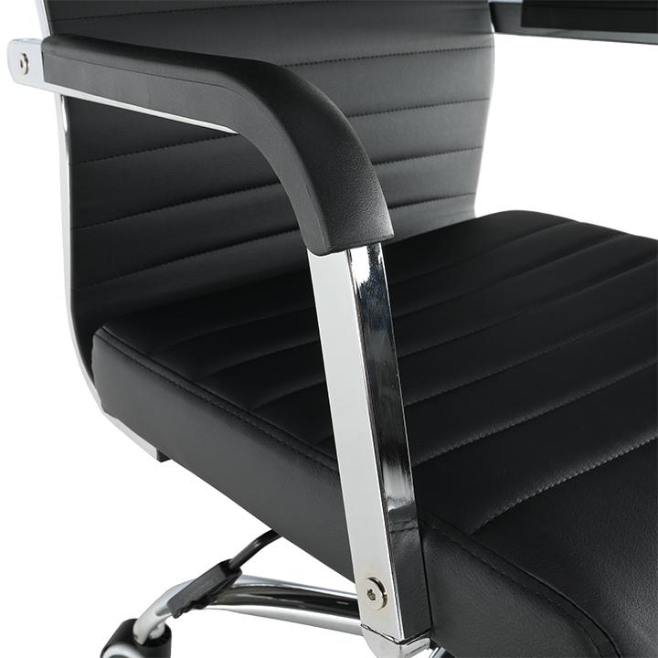 Irodai szék, textilbőr/fém, fekete/króm, FARAN