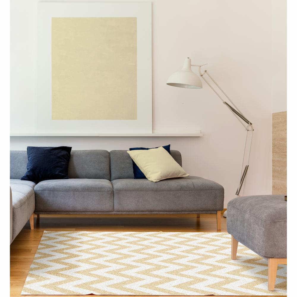 Szőnyeg, bézs-fehér minta, 67x120, ADISA TYP 2