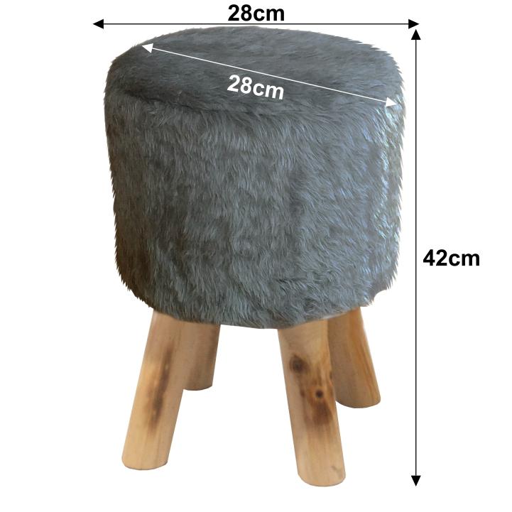 Puff, szürke szőrme/tűnyalábos fenyő, ALPIA