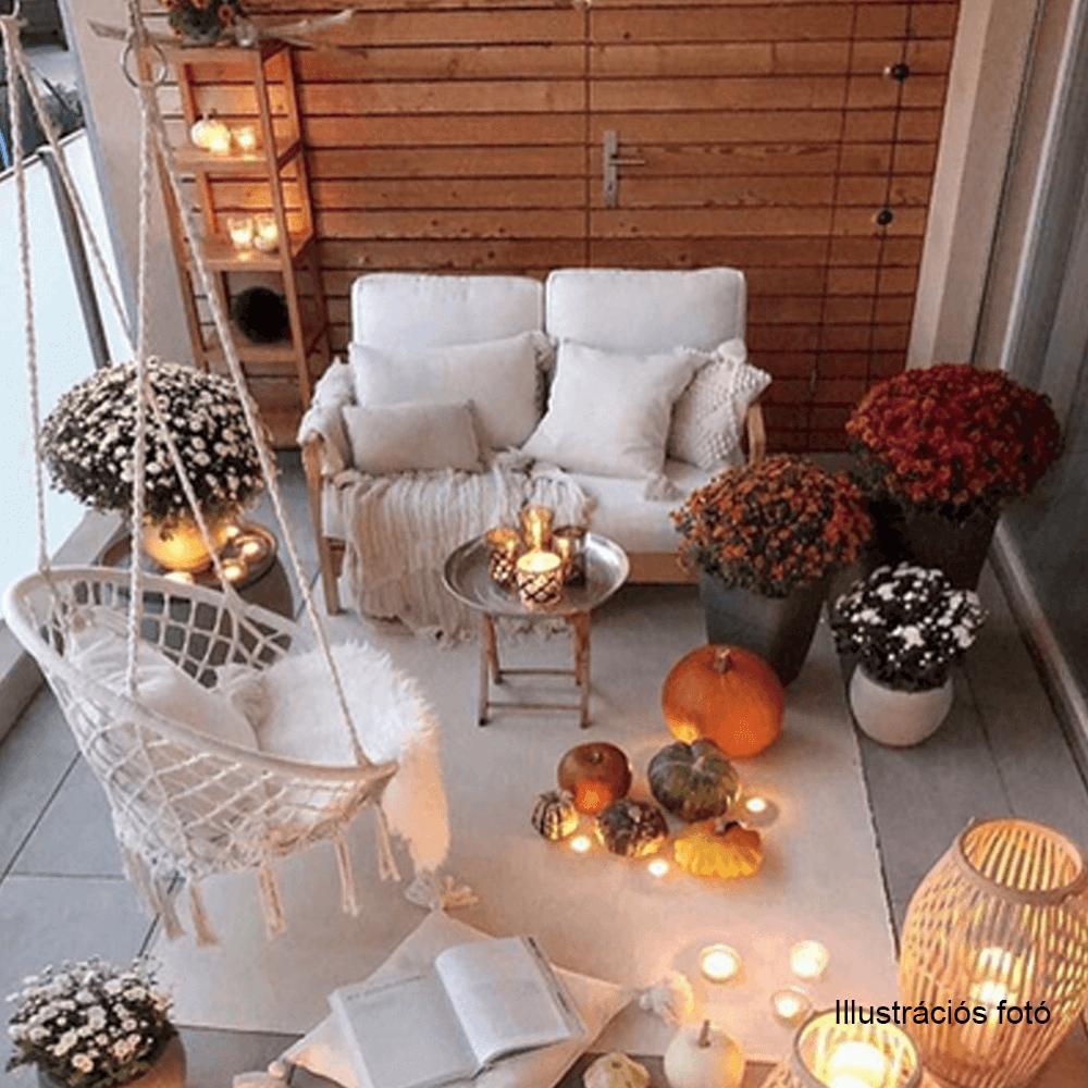 Függő szék, pamut+fém/fehér, AMADO 2 NEW