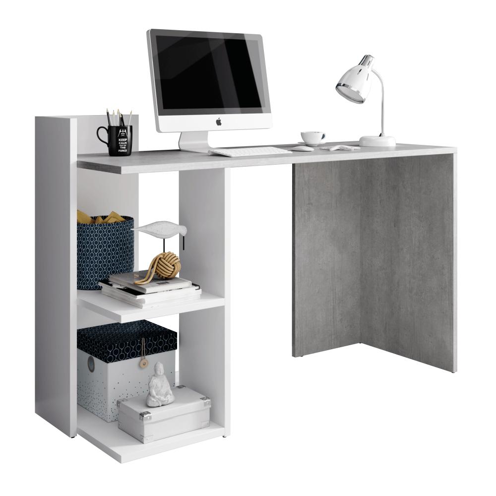 PC asztal, beton/fehér matt, ANDREO