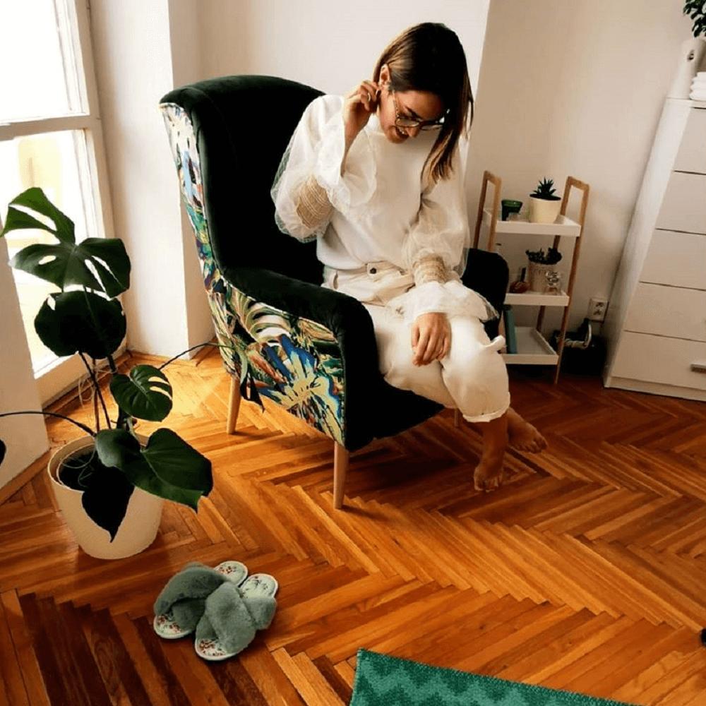 Dizájnos fotel, anyag, smaragd/minta Jungle, BELEK