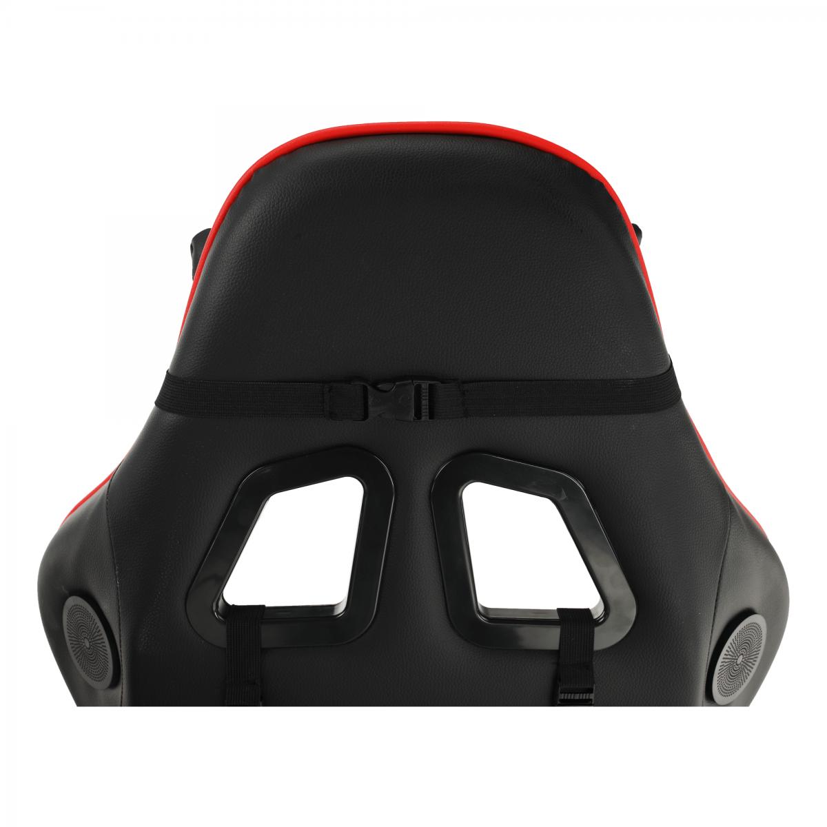 Irodai/gamer szék Bluetooth hangszórókkal, fekete/piros, CARPI