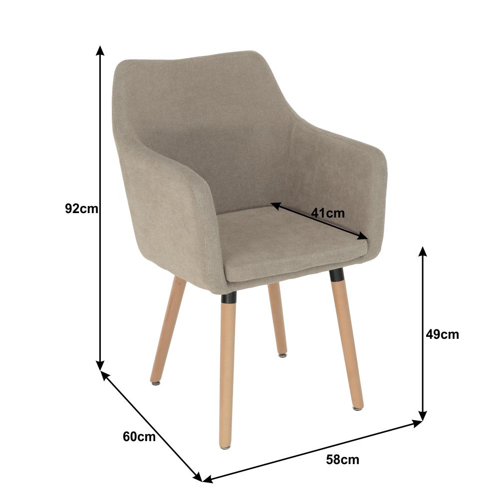 Étkező fotel, bézs anyag/bükk, DABIR