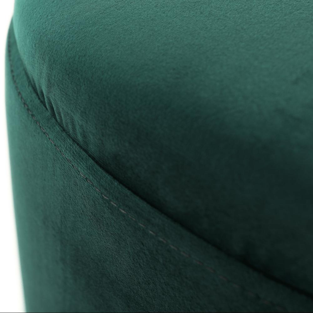 Puff, zöld Velvet anyag/ezüst króm, DARON