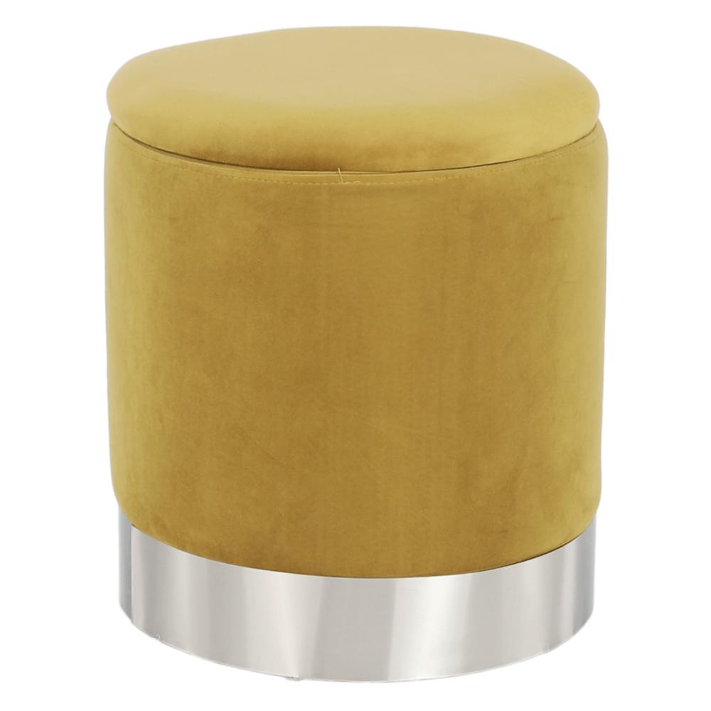 Puff, arany Velvet anyag/ezüst króm, DARON