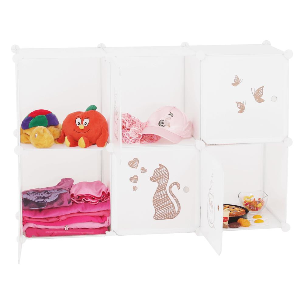 Gyerek szekrény, fehér/gyerek minta, DINOS