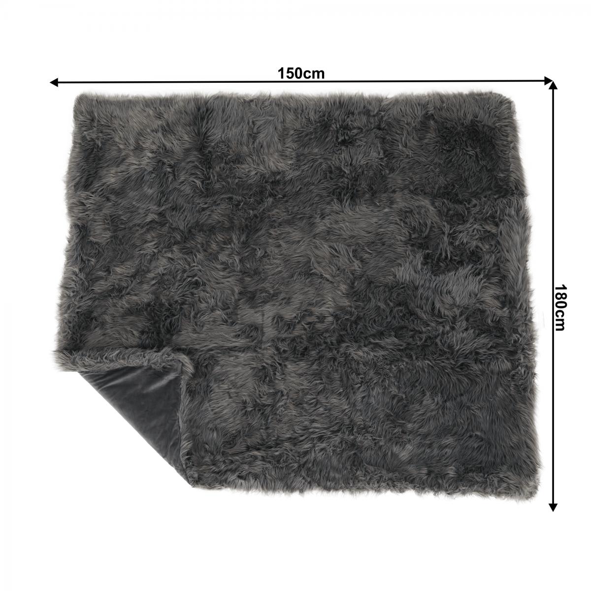 Szőrmés pléd, szürke, 150x180, EBONA TYP 5