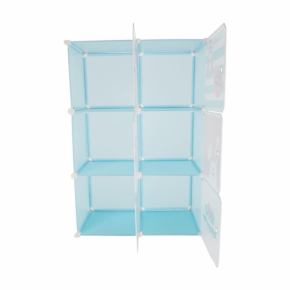 Gyerek szekrény, kék/gyerek minta, EDRIN