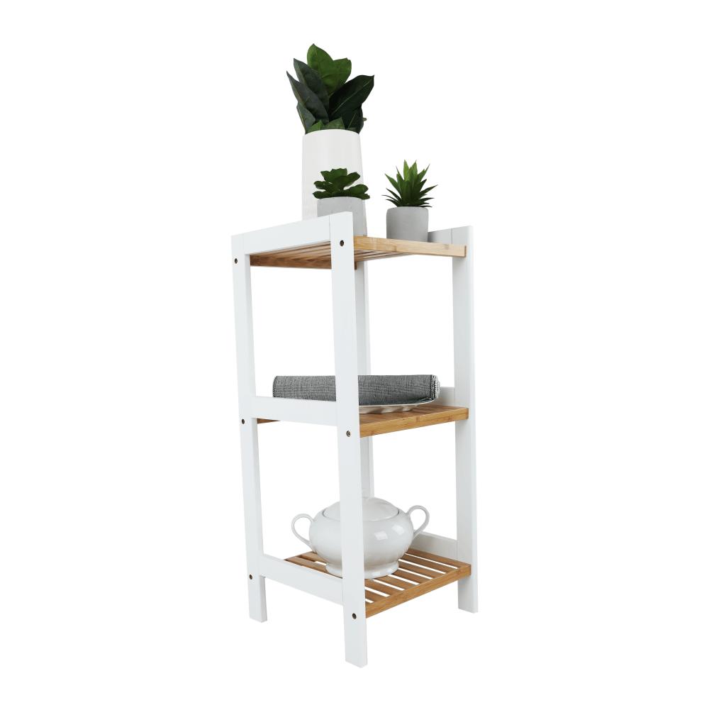 Könyvespolc, természetes bambusz/fehér, ERAVA TYP 1