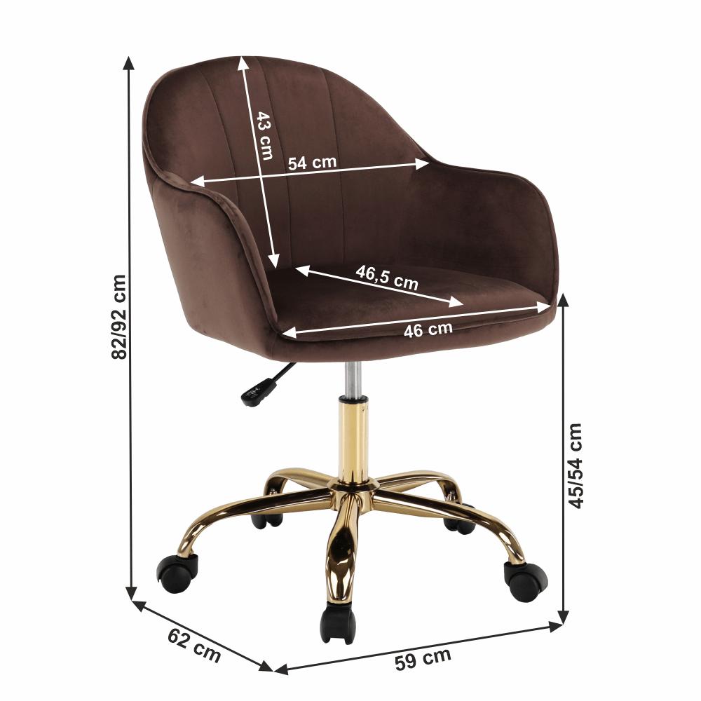 Irodai szék, Velvet anyag barna/gold króm arany, EROL