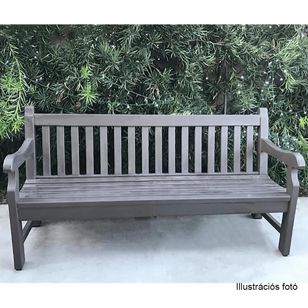 Fából készült kerti pad, szürke, 124 cm, KOLNA