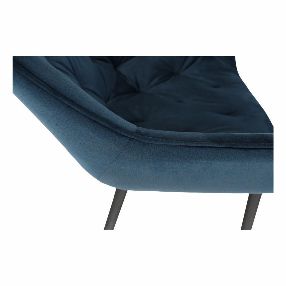 Dizájnos fotel, kék Velvet anyag, FEDRIS