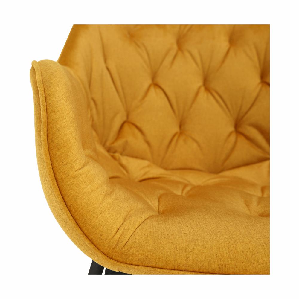 Dizájnos fotel, sárga Velvet anyag, FEDRIS