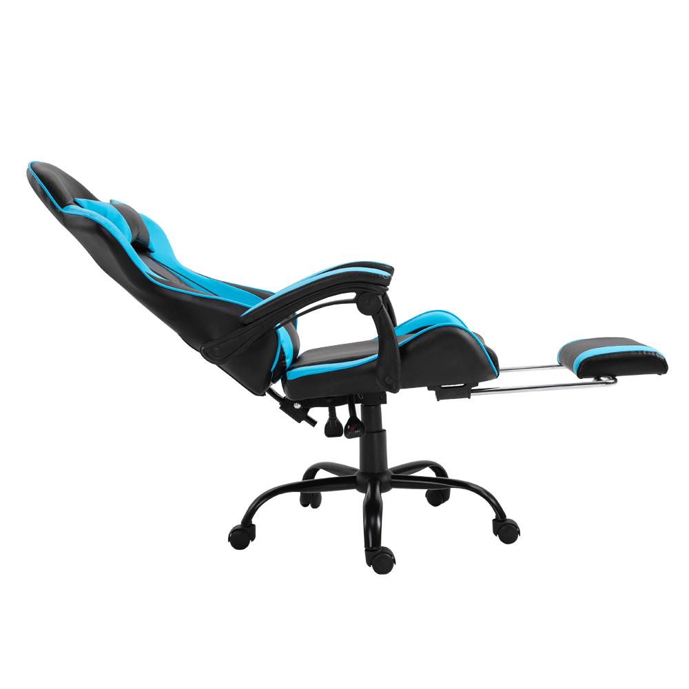 Irodai/gamer fotel lábtartóval, fekete/kék, TARUN