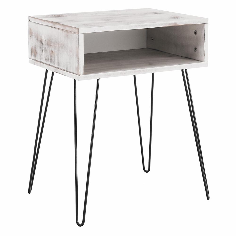 Kisasztal/éjjeliszekrény, fehér vintage/fekete, HONEJ