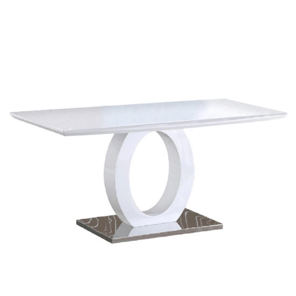 Étkezőasztal, fehér magas fény/acél, ZARNI