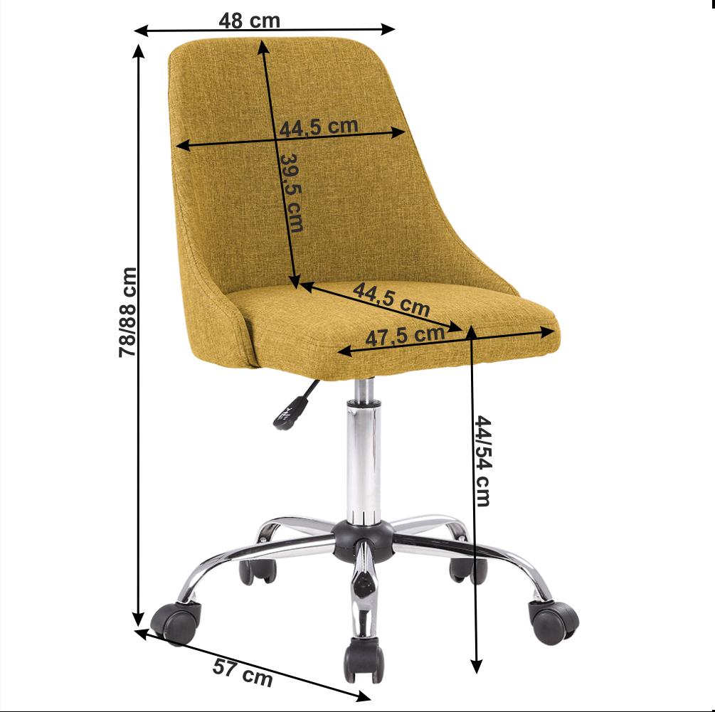 Irodai szék, sárga/króm, EDIZ