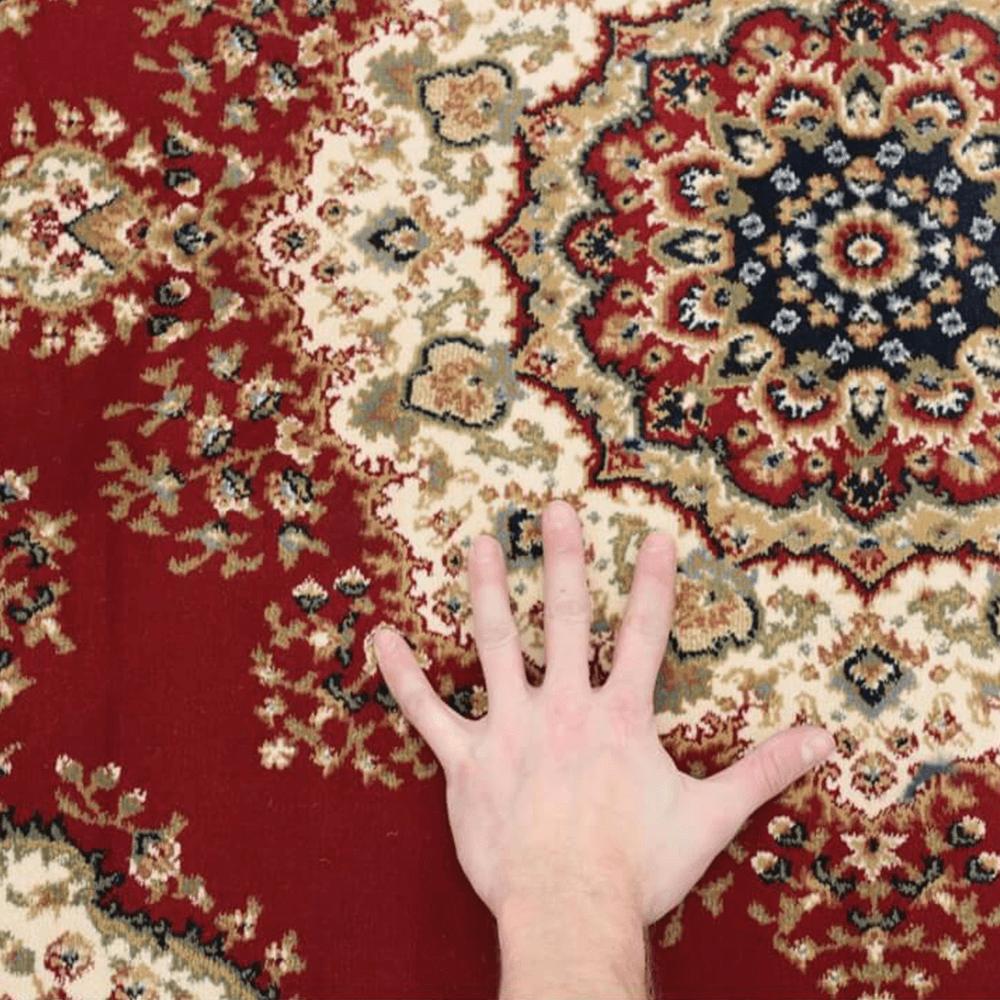 Szőnyeg, borvörös/színek keveréke/minta, 67x120, KENDRA tip 3