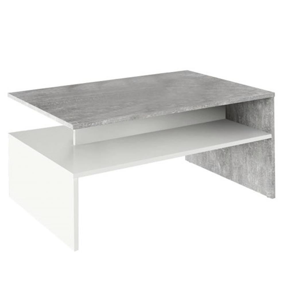 Dohányzóasztal, beton/fehér, DAMOLI