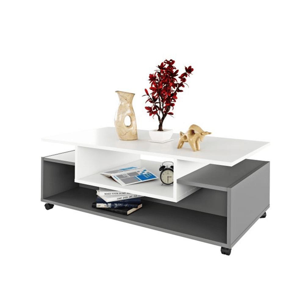 Dohányzóasztal görgős, fehér/grafit, DALEN