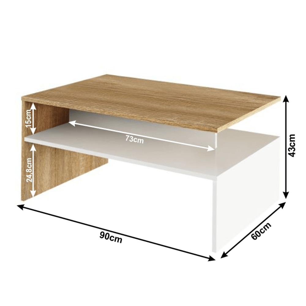 Dohányzóasztal, tölgy sonoma/fehér, DAMOLI