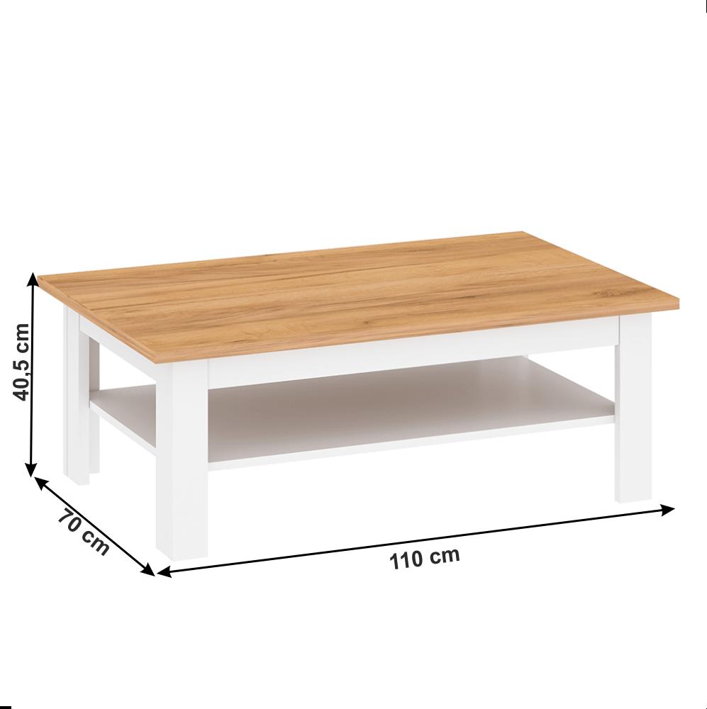 Kisasztal, fehér alba/tölgy craft arany, LANZETTE T