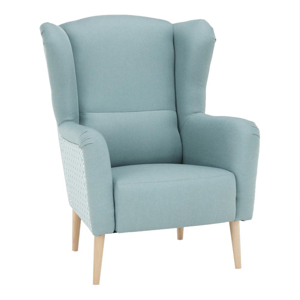 Dizájnos fotel, anyag, mentol/minta, BELEK