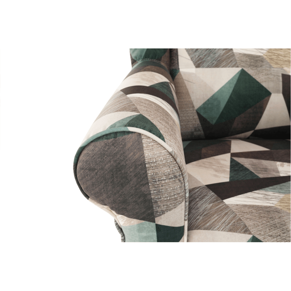Füles fotel puffal, szövet barna-zöld minta, ASTRID