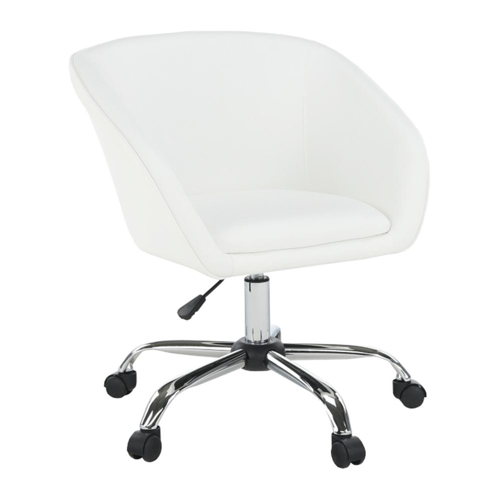 Irodai szék, fehér ekobőr/fém, LENER