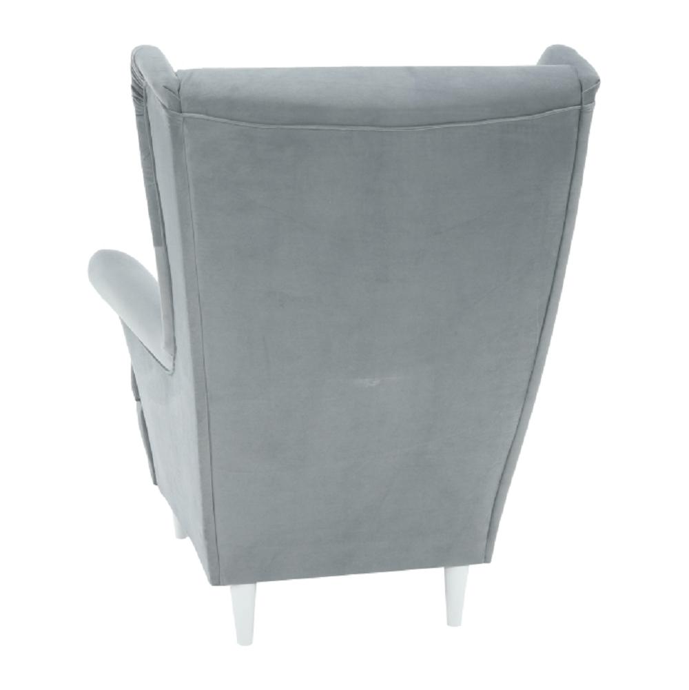 Füles fotel, világosszürke/fehér, RUFINO