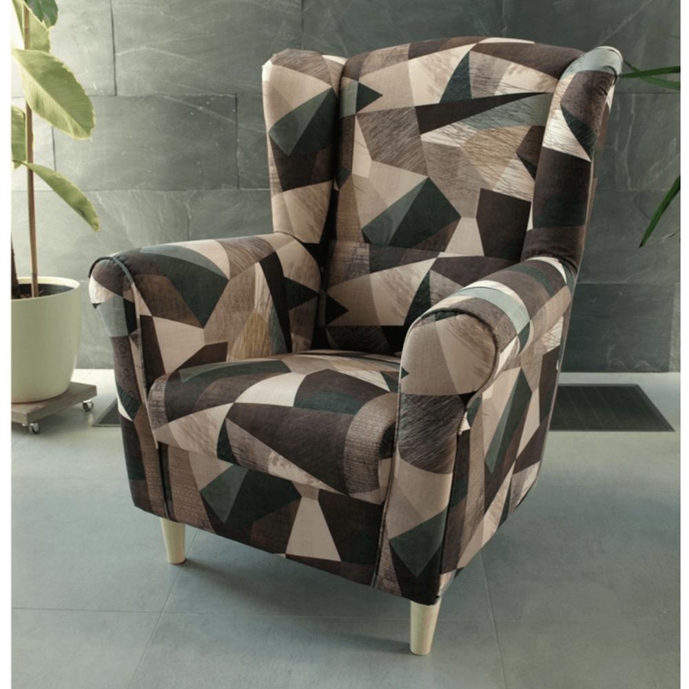 Füles fotel, szövet barna-zöld minta, CHARLOT