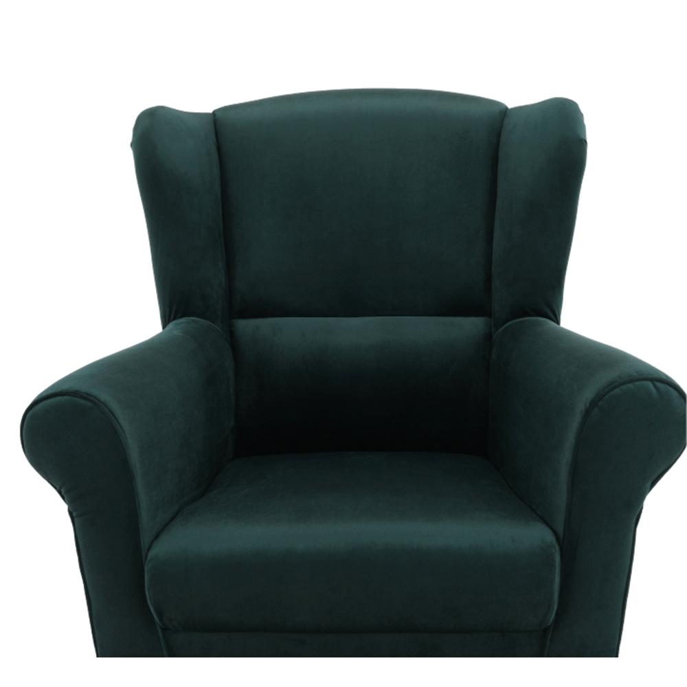 Füles fotel puffal, szövet smaragd, ASTRID