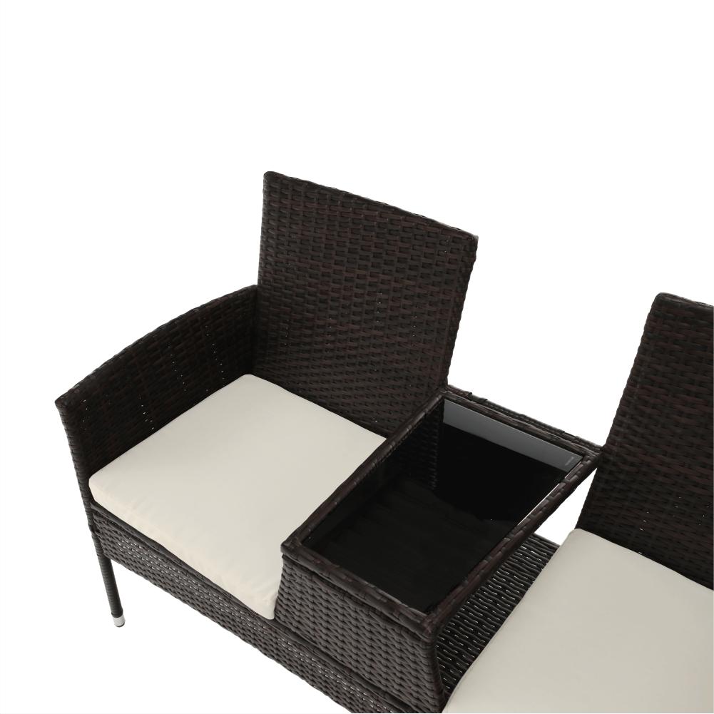 2-ülés kisasztallal, barna/krém, LALIT