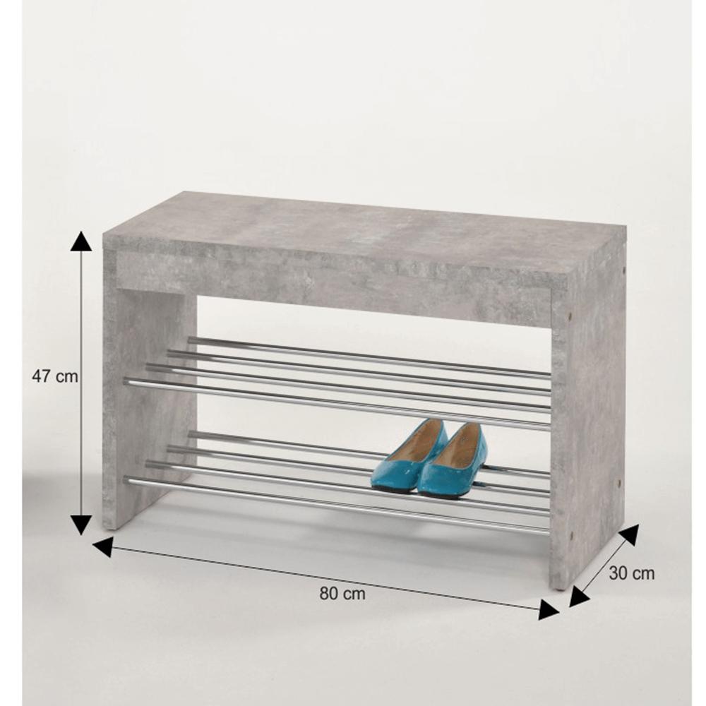 Lóca cipőtartóval, beton/króm, LUSIA
