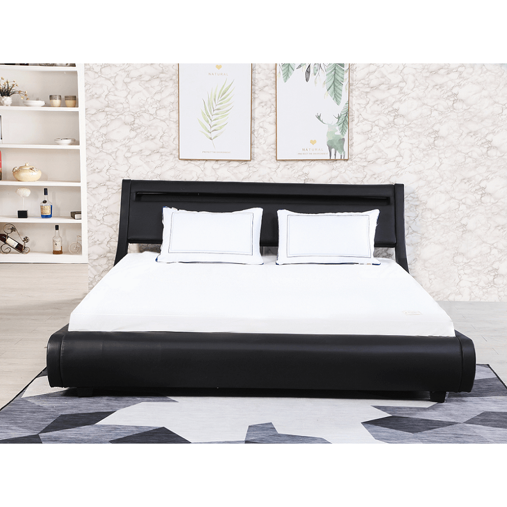 dupla ágy RGB LED világítással, fekete, 180x200, FELINA