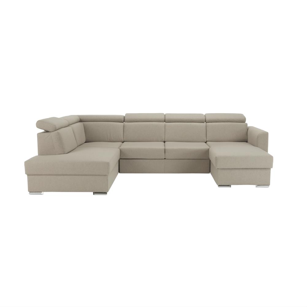 Luxus kivitelű ülőgarnitúra, bézs/téglavörös, balos, MARIETA U