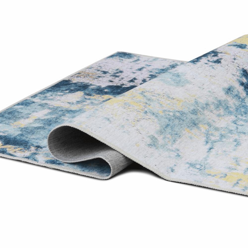 Szőnyeg, kék/szürke/sárga, 80x200, MARION tip 1