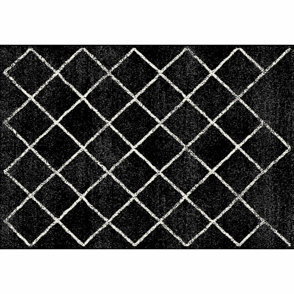 Szőnyeg, fekete/minta, 133x190 cm, MATES TYP 1