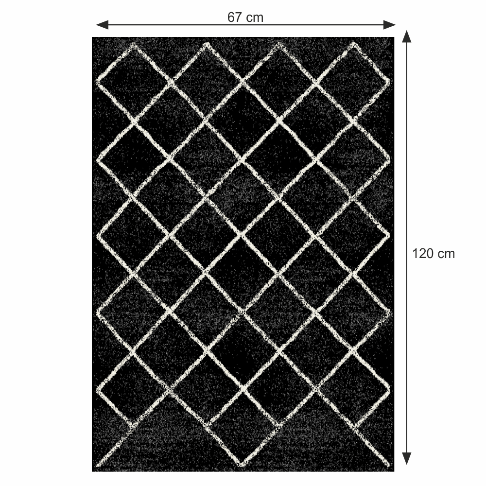 Szőnyeg, fekete/minta, 67x120 cm, MATES TYP 1