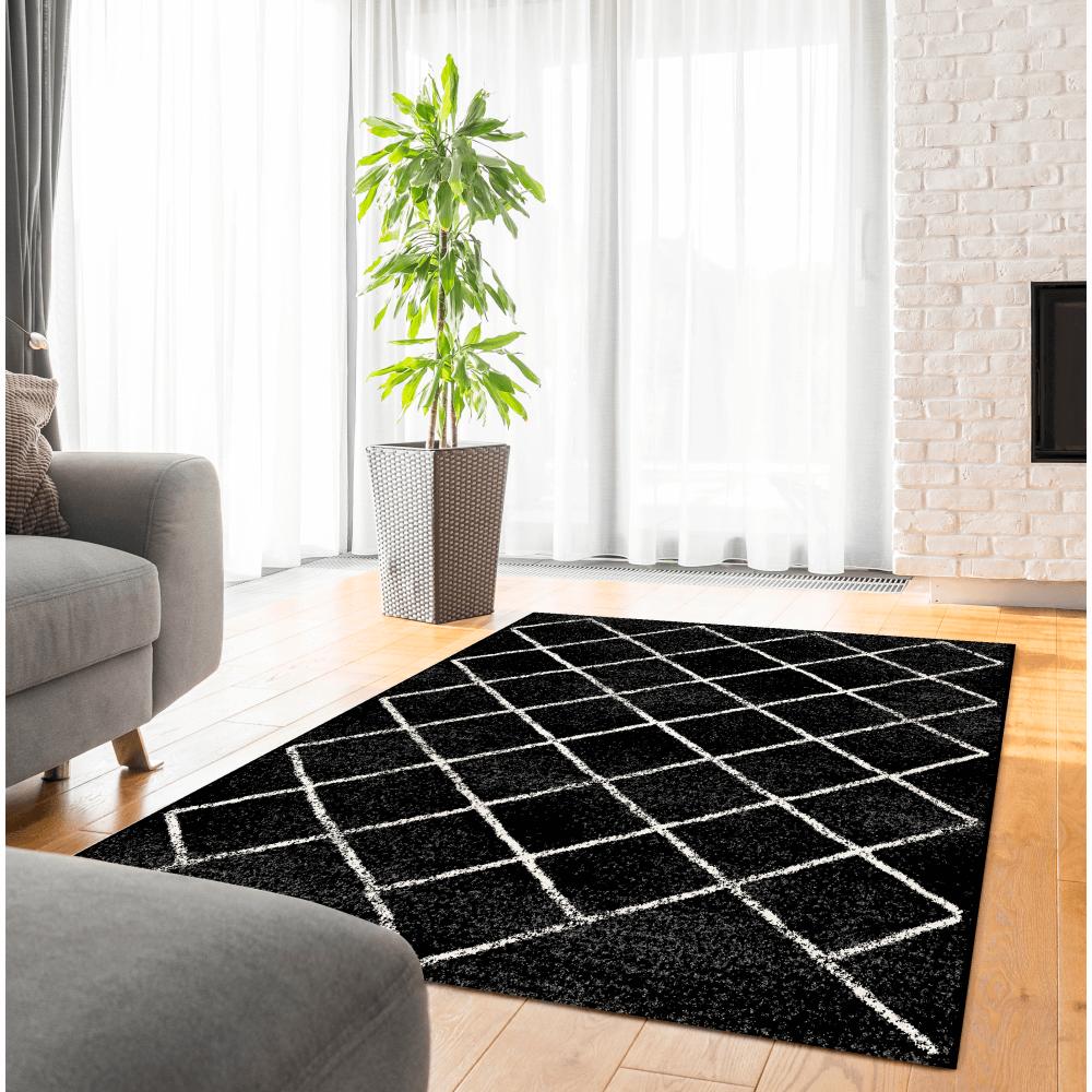 Szőnyeg, fekete/minta, 57x90 cm, MATES TYP 1