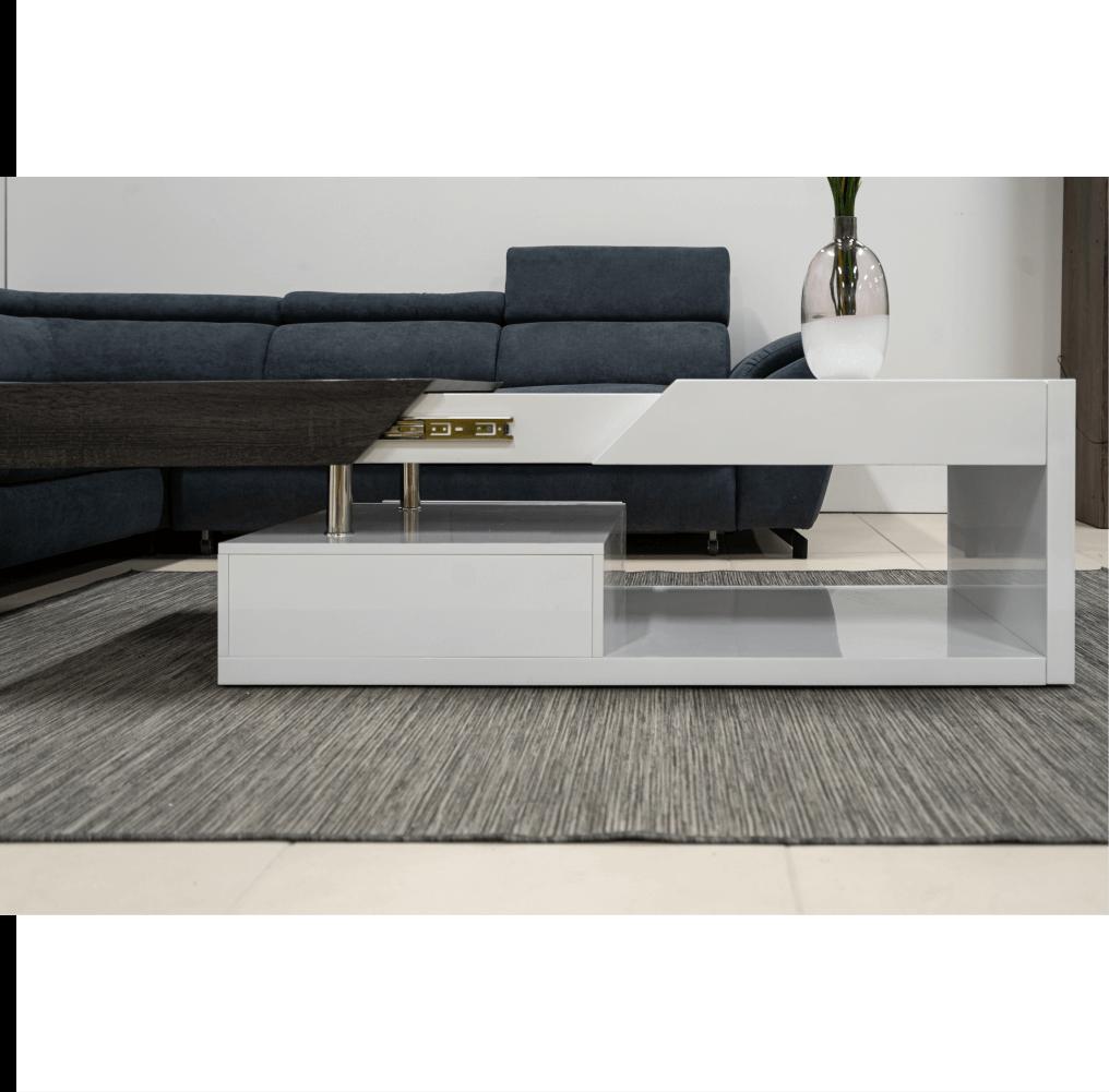 Dohányzó asztal, fehér fény/szürke fa design, MELIDA