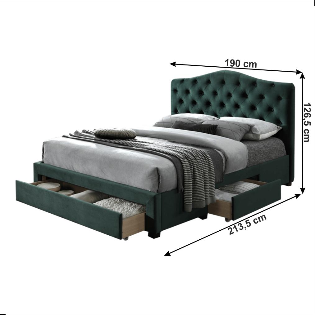 Ágy, smaragdzöld bársonyszövet, 180x200, KESADA