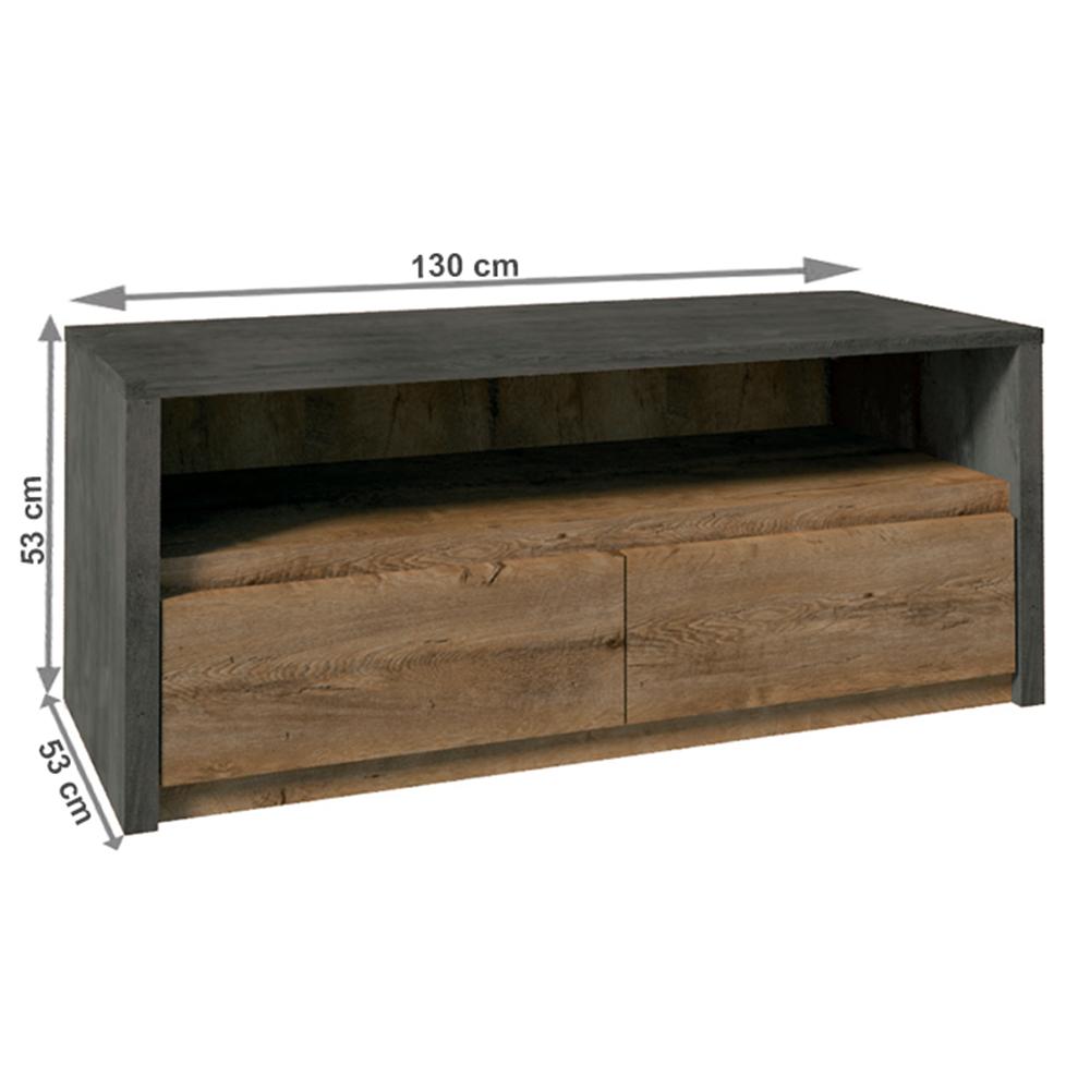 RTV asztal 130, tölgy lefkas/smooth szürke, MONTANA
