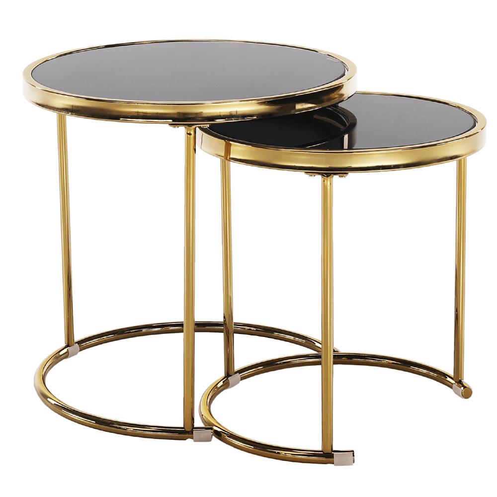 2 darabos dohányzóasztal készlet, gold króm arany/fekete, MORINO