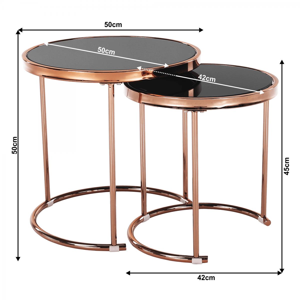 2 darabos dohányzóasztal készlet, rose gold króm rózsaszín/fekete, MORINO