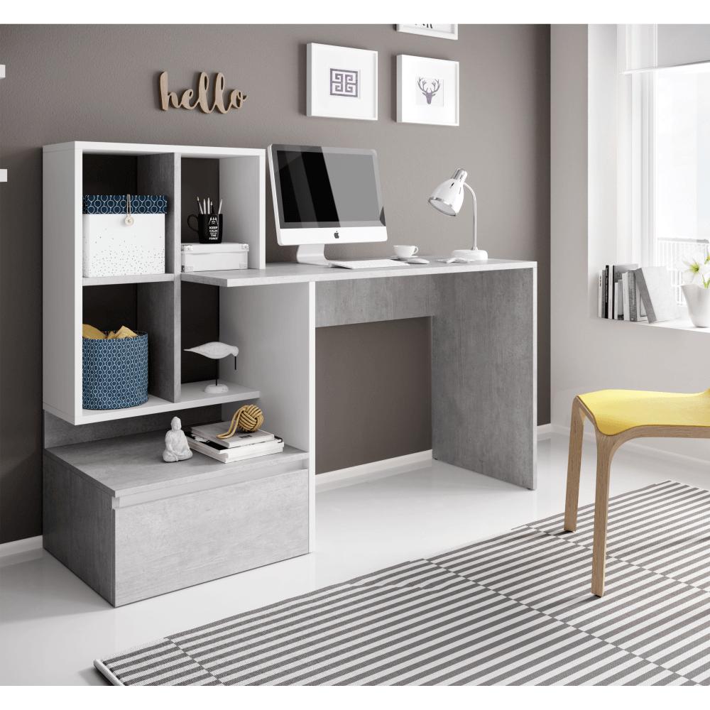 PC asztal, beton/fehér matt, NEREO