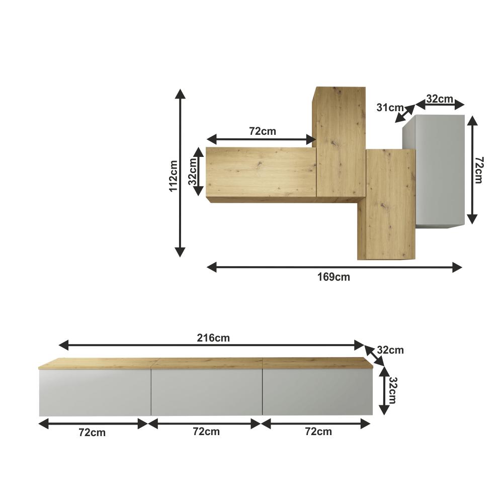 Nappali sor, világossztürke/artisan tölgy, OTEN